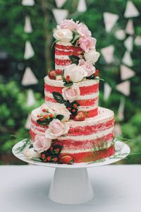 Rustic Cake with Flowers & Fruits